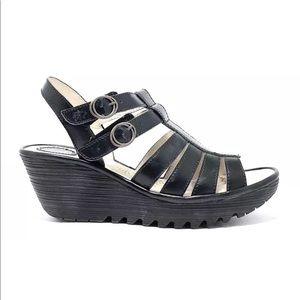 """Fly London Women's Black Leather """"Ygor"""" Sandals"""